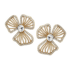 Dogwood Crystal Stud-earrings-Elizabeth Bower-Matte Gold-4 Day Rental-Happily Ever Borrowed