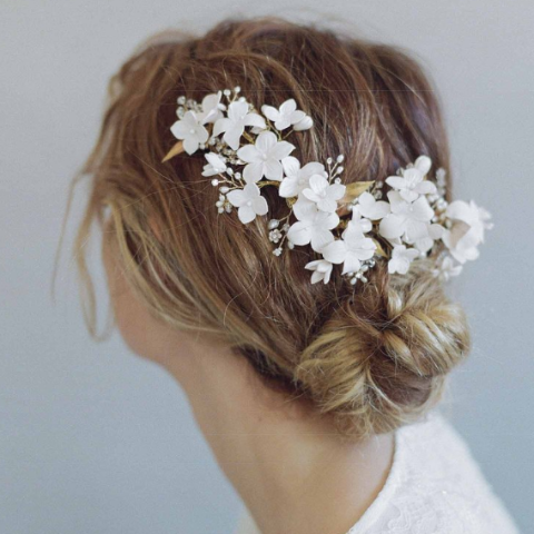 Cherry Blossom Burst Headpiece-Hairpins & Combs-Twigs & Honey-Blush-4 Day Rental-Happily Ever Borrowed