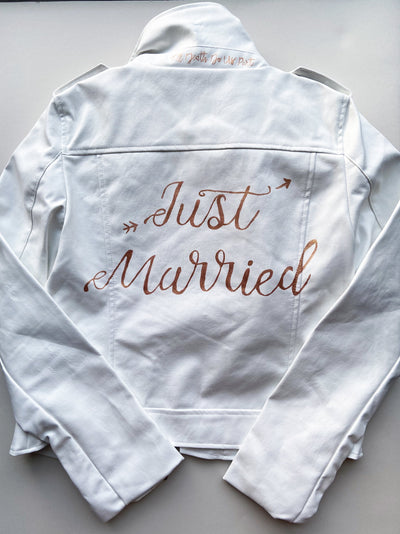 Just Married white leather jacket - rental wedding jacket - Happily Ever Borrowed