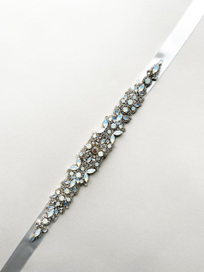 Rent Bridal Sash-White Opal and Crystal Sash-Happily Ever Borrowed