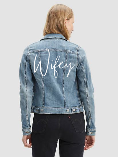 Wifey Denim Jacket-Rent Wedding Jacket-Happily Ever Borrowed