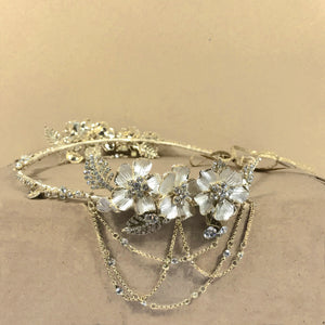 Asymmetrical Floral and Crystal Swag Headpiece