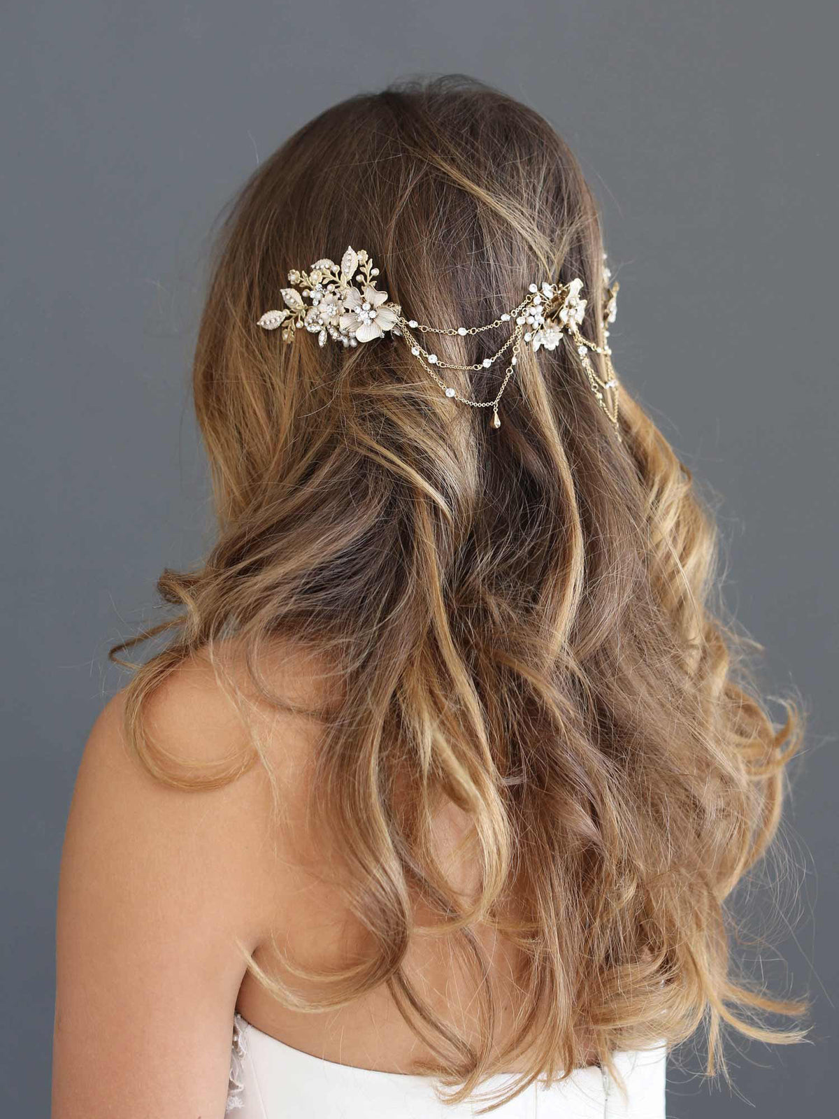 Rent Wedding Headpiece-Flower Cluster Swag Headpiece-Happily Ever Borrowed