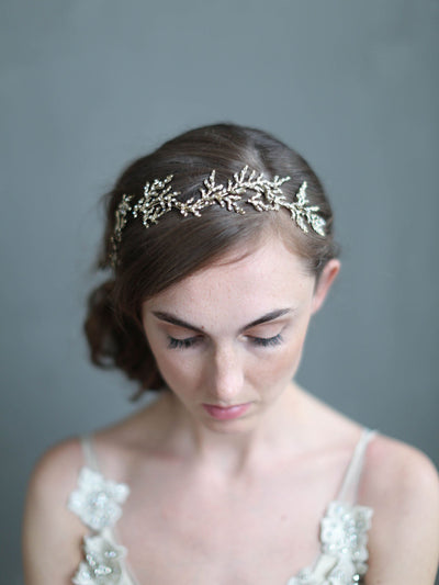 Rent Wedding Headpiece-Gilded Crystal Encrusted Branch Headpiece-Happily Ever Borrowed