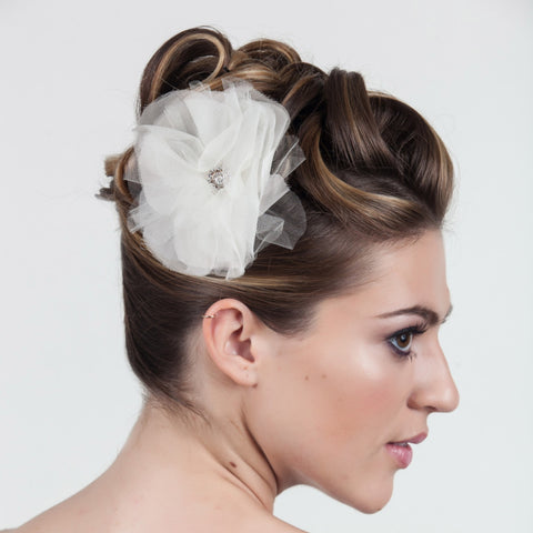 Pom Pom Flower-Hairpins & Combs-Justine M. Couture-White-4 Day Rental-Happily Ever Borrowed