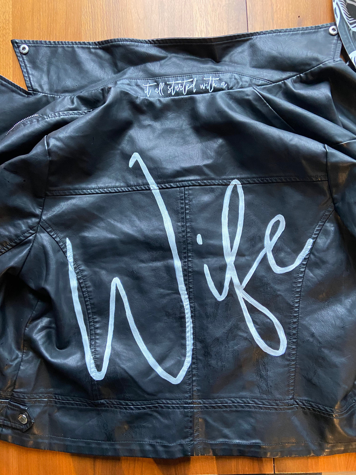 Hand-Painted Custom Bridal Leather Jacket