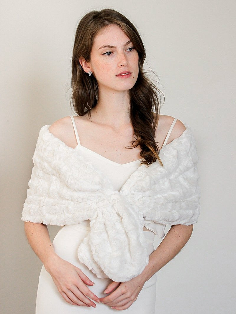 Faux Fur Bridal Shawl-Wedding Jacket Rental