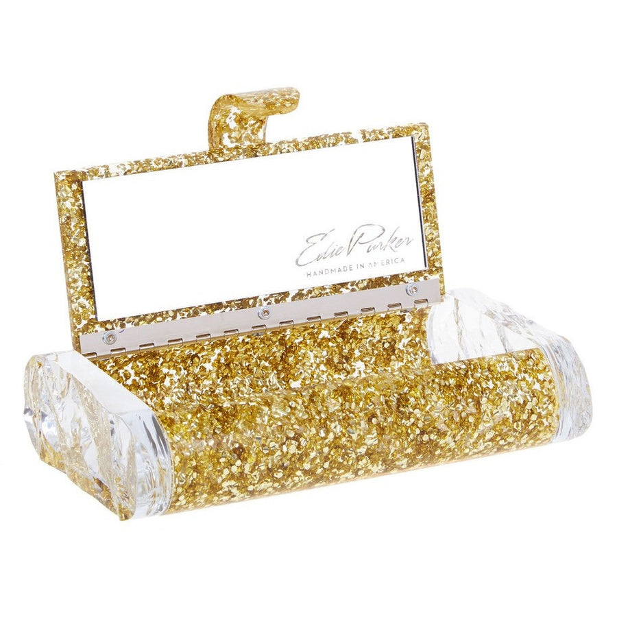 Lara Solid Gold Confetti Clutch