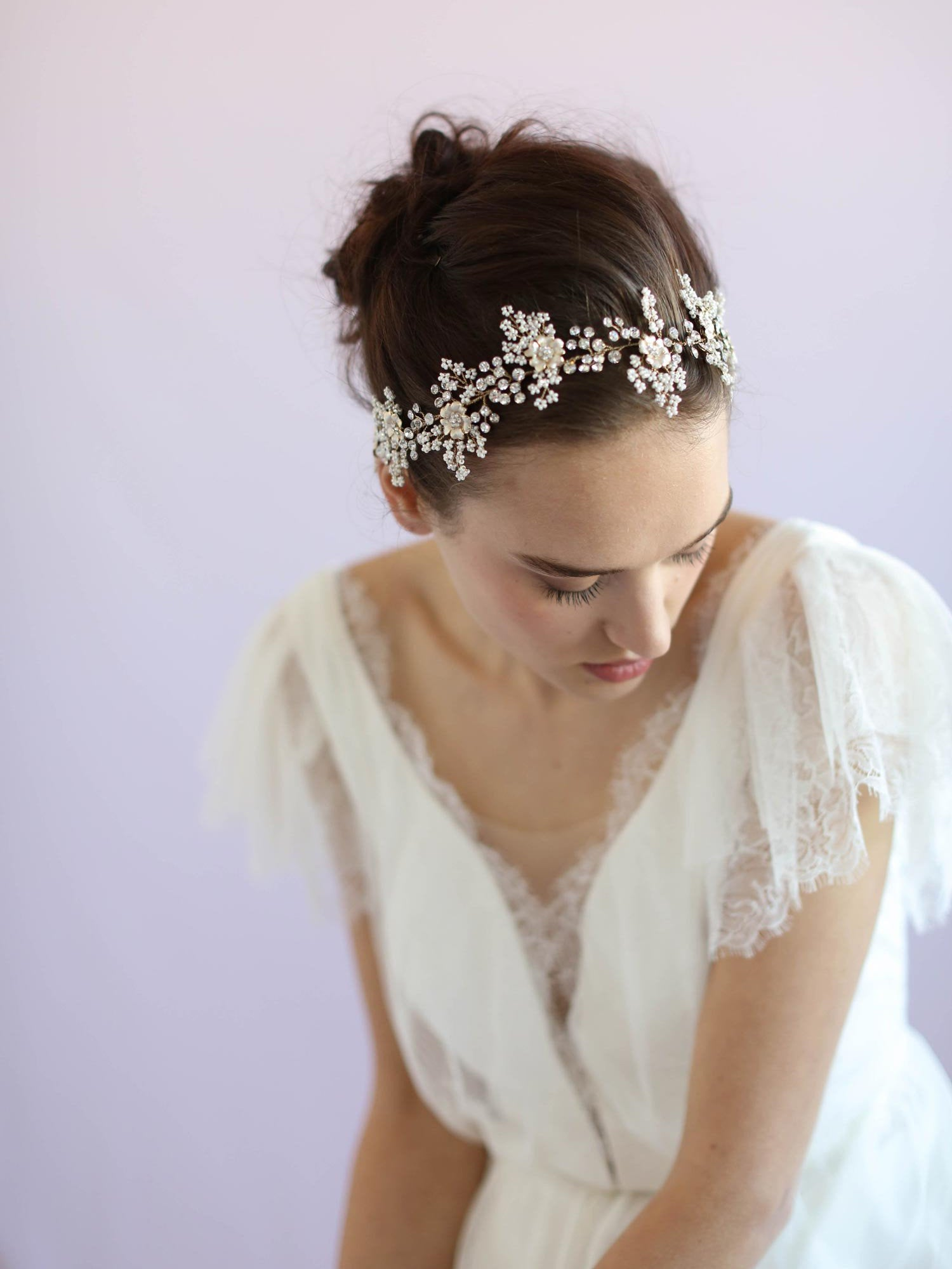 Rent Wedding Headpiece-Lush Beaded Blossom and Crystal Hair Vine-Happily Ever Borrowed-Twigs and Honey