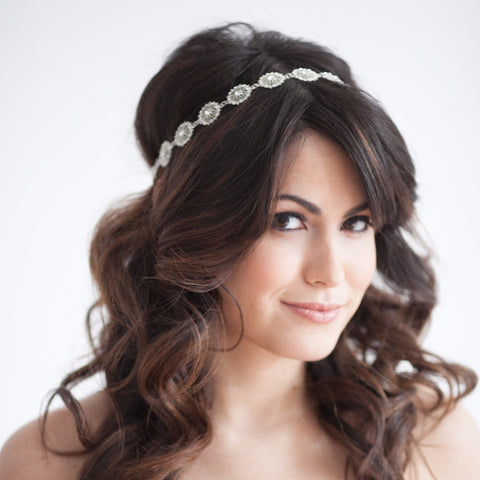 Lace Band Crystal Hairpiece-headbands-Elizabeth Bower-Happily Ever Borrowed