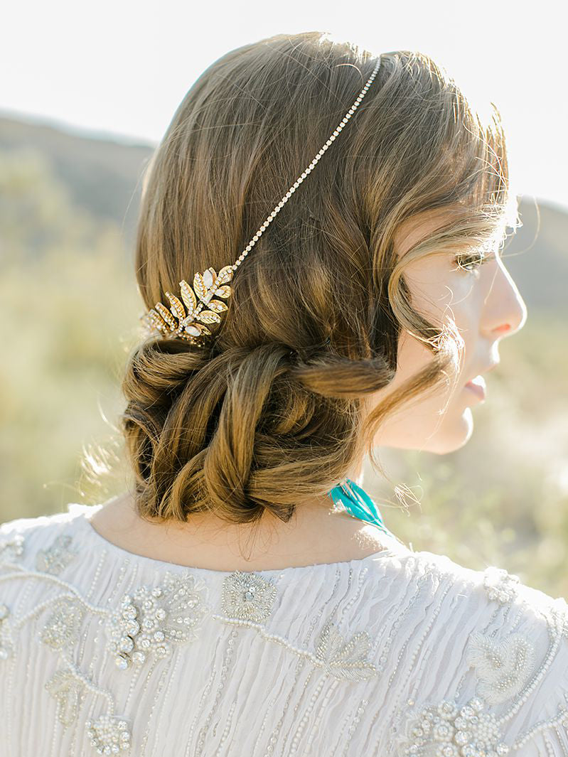 Rent Wedding Hair Accessories-Sanee Double Leaf Circlet-Happily Ever Borrowed