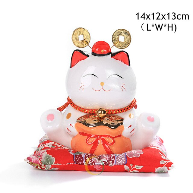 6 inch Maneki Neko Ceramic Lucky Cat Home Decor Porcelain Ornaments Cute Fortune Cat Money Box Fengshui Crafts