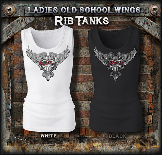 Old School Motorcycles Ladies Wings Rib Tanks