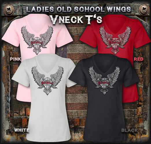 Old School Motorcycles Ladies V Neck T-Shirts