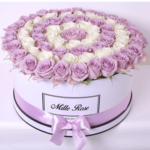 Mille Rose - One Million Box - Rose Lilla e Bianche - Scatola Bianca