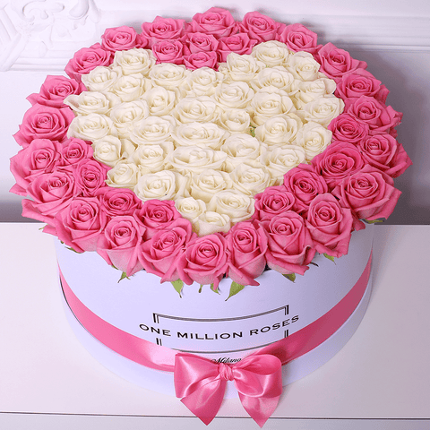 Love Collection - One Million Box - Rose Panna e Rosa - Scatola bianca