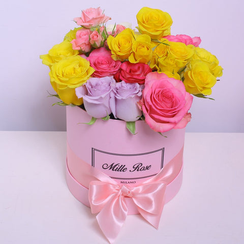 Classic Collection - Small Box - Rose Rosa,lilla, giallo Mix - Scatola Rosa