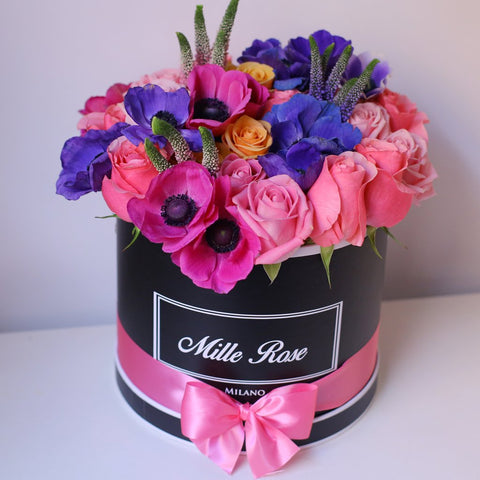 Mille Rose Collection - Medium Box - Rose mix anemoni  - Scatola Nera