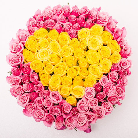 Love Collection - One Million Box - Rose Rosa e Giallo - Scatola bianca