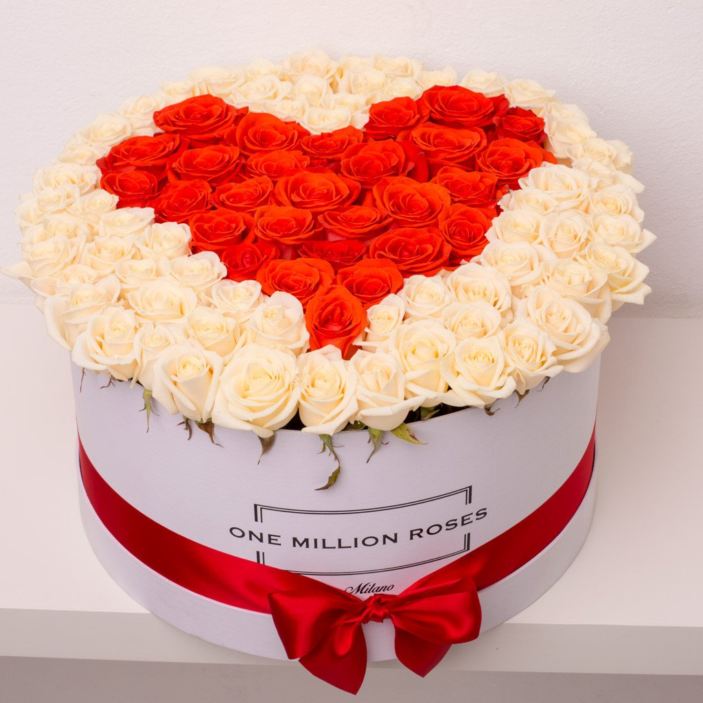 Love Collection - One Million Box - Rose Panna e Rosso - Scatola bianca