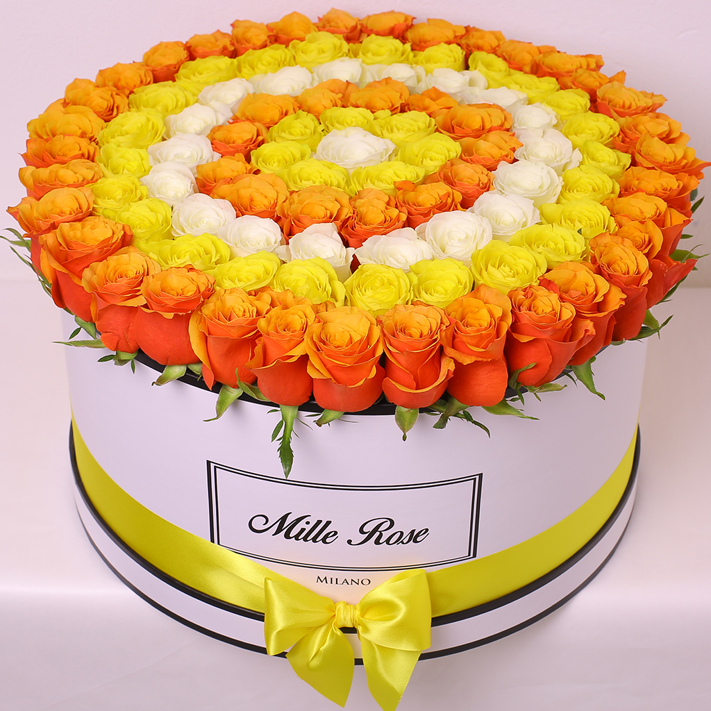 Mille Rose Collection - One Million Box - Rose Arancioni Gialle Bianche - Scatola Bianca
