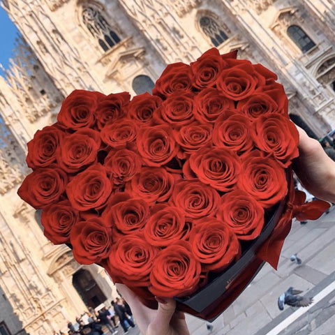 Mille Rose Collection - Love Box - Rose Rosse - Scatola Nera