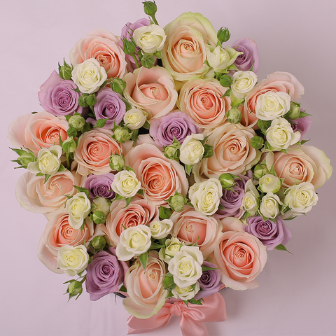 Mille Rose Collection - Medium Box - Rose Mix Lilla Bianco Rosa - Scatola Bianca
