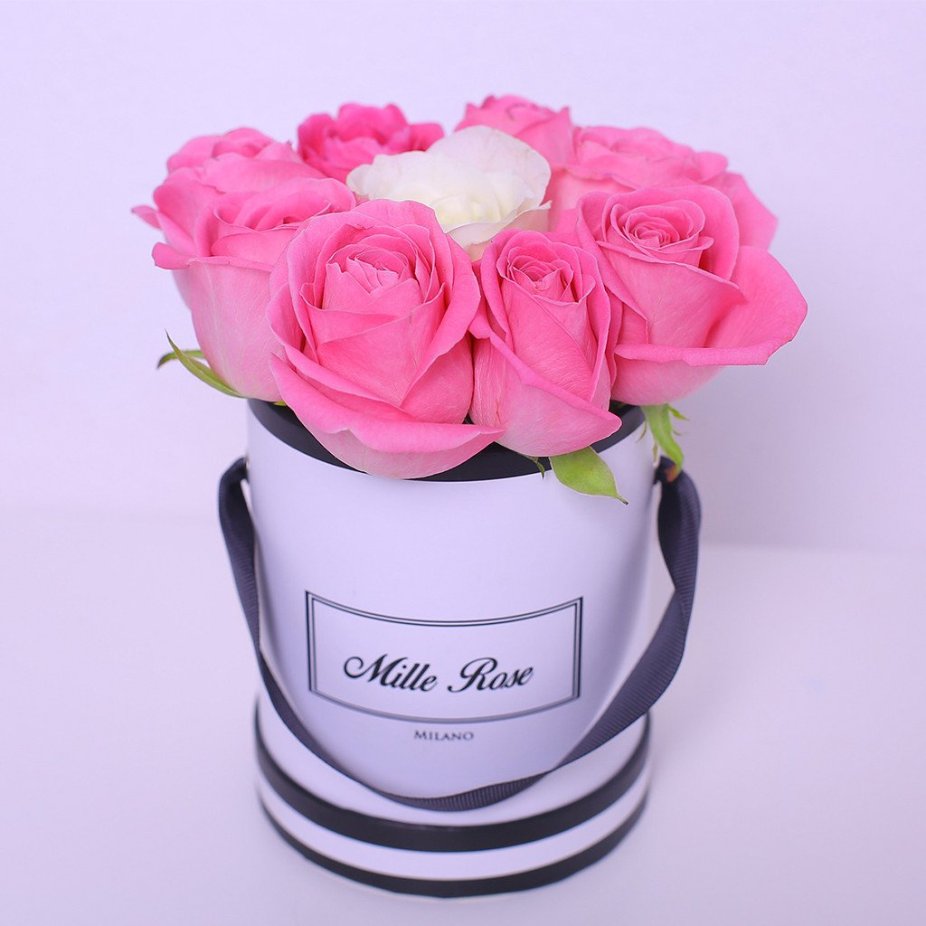 Mille Rose Collection - Mini Box - Rose Mix Rosa Bianco - Scatola Bianca