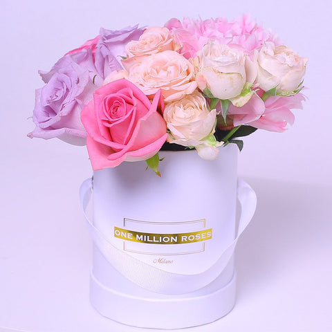 Classic Collection - Mini Box - Rose Mix Rosa Lilla Fucsia - Scatola Bianca