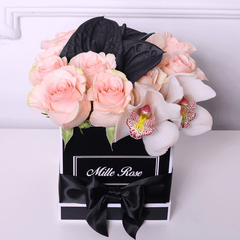 Mille Rose Collection - Cube Box - Rose Cipria Mix Nero Calla - Scatola Nera