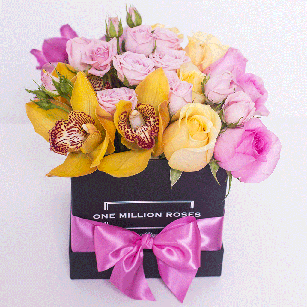 Classic Collection - Cube Box - Rose Mix e Orchidee - Scatola Nera