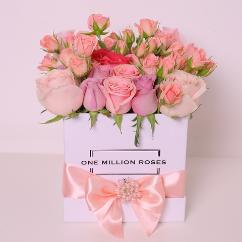 Classic Collection - Cube Box - Rose Mix Rosa - Scatola Bianca