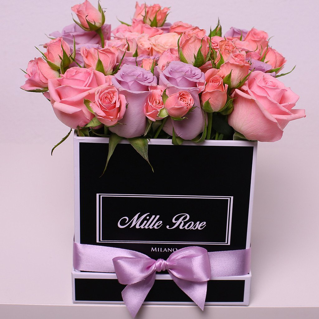Mille Rose Collection - Cube Box - Rose Mix Rosa - Scatola Nera