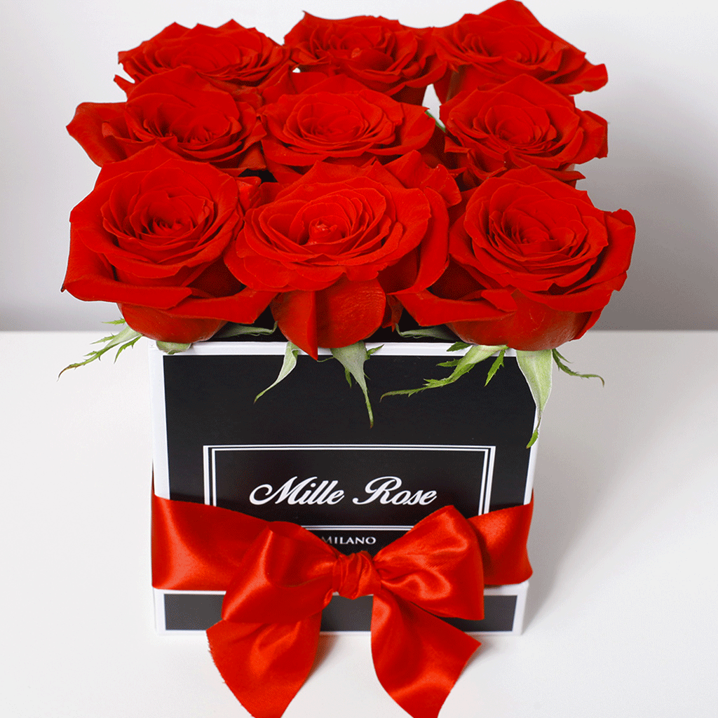 Mille Rose Collection - Cube Box - Rose Rosse - Scatola Nera