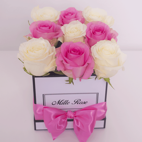 Mille Rose Collection - Cube Box - Rose Rosa e Bianca - Scatola Bianca