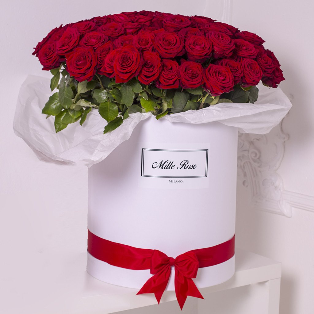 Mille Rose Collection - One Billion Box - Rose Rosse - Scatola Bianca