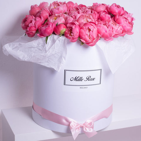 Mille Rose Collection - One Billion Box - Peonie Rosa - Scatola Bianca