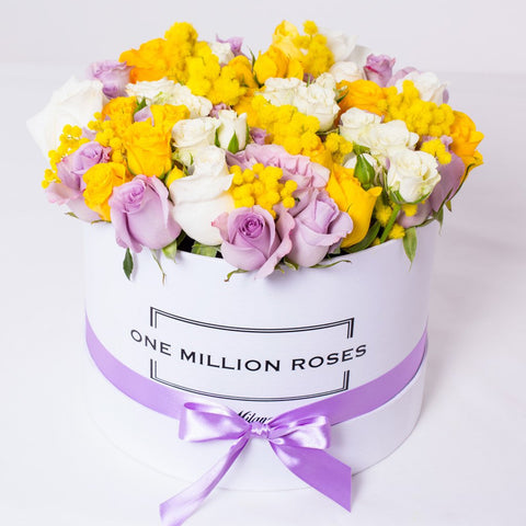 8 March Collection - Medium Box - Rose Bianco Giallo Lilla Mimose - Scatola Bianca