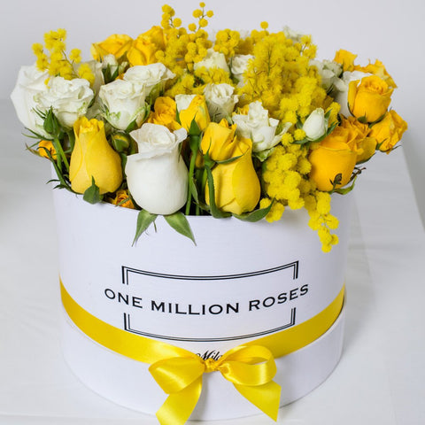 8 March Collection - Medium Box - Rose Bianco Giallo Mimose - Scatola Bianca
