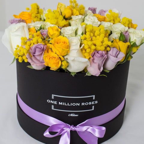 8 March Collection - Medium Box - Rose Bianco Giallo Lilla Mimose - Scatola Nera