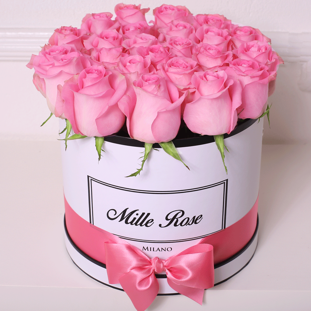 Mille Rose Collection - Medium Box - Rose Rosa - Scatola Bianca