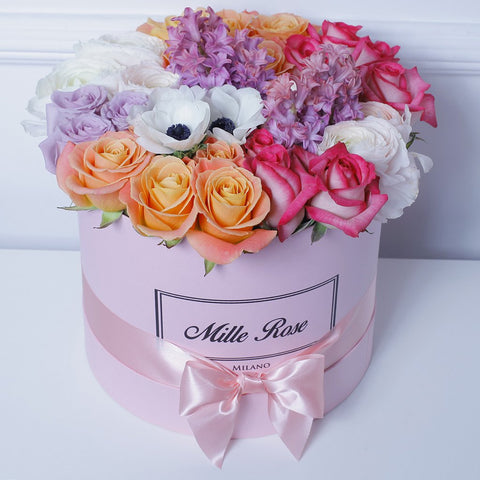 Mille Rose Collection - Medium Box - Rose Mix Anemoni- Scatola Rosa
