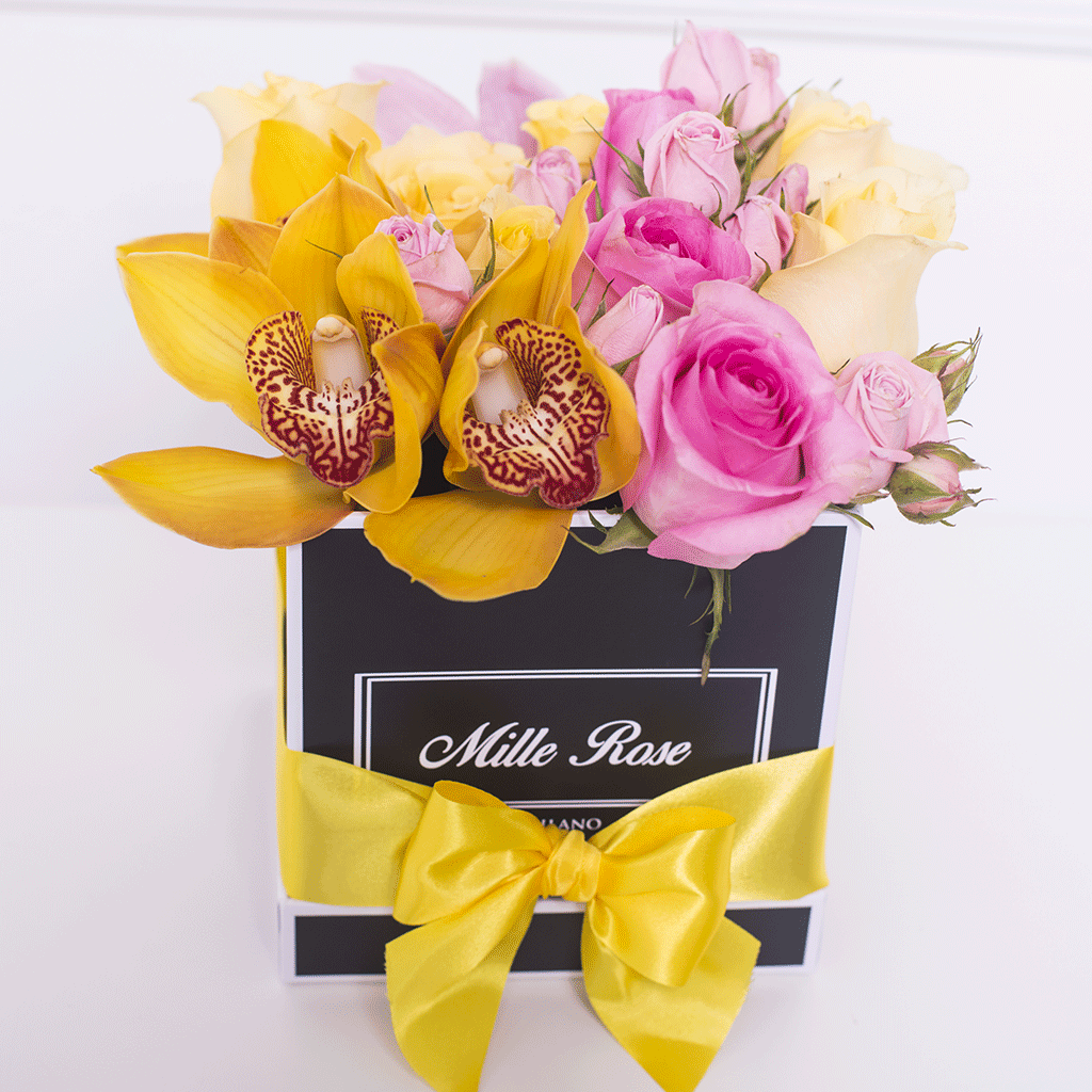 Mille Rose Collection - Cube Box - Rose Mix e Orchidee - Scatola Nera