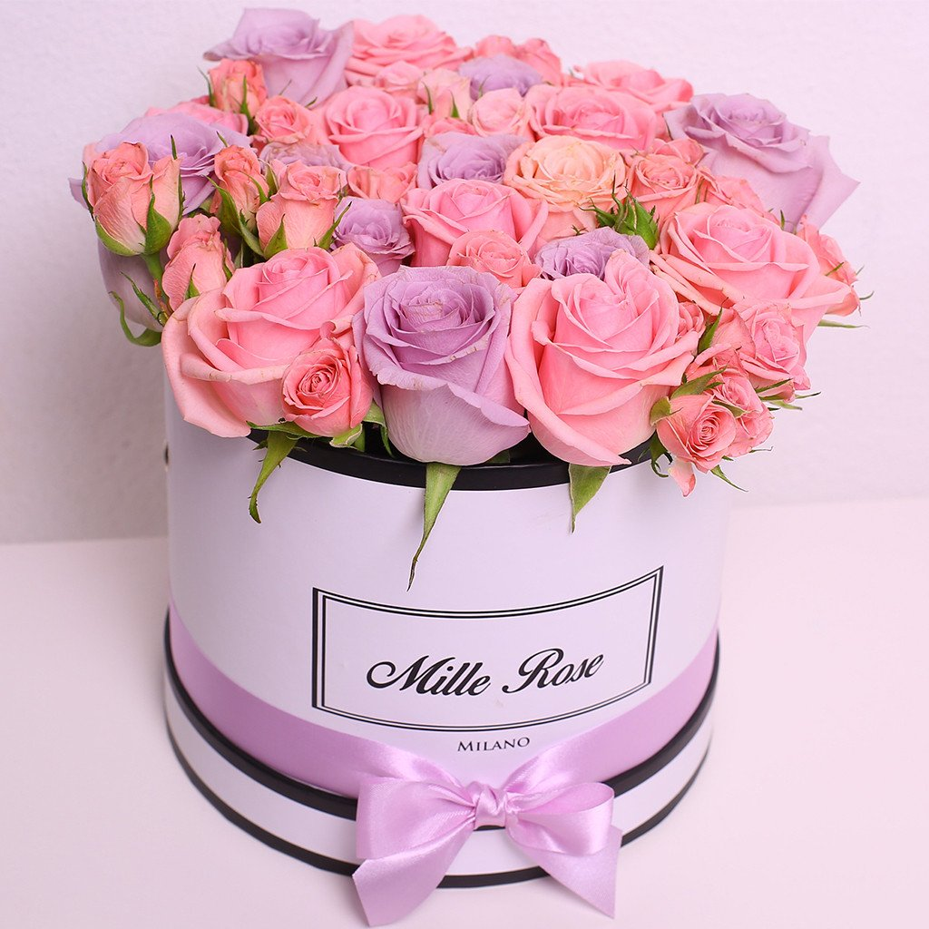 Mille Rose Collection - Small Box - Rose Mix Rosa - Scatola Bianca