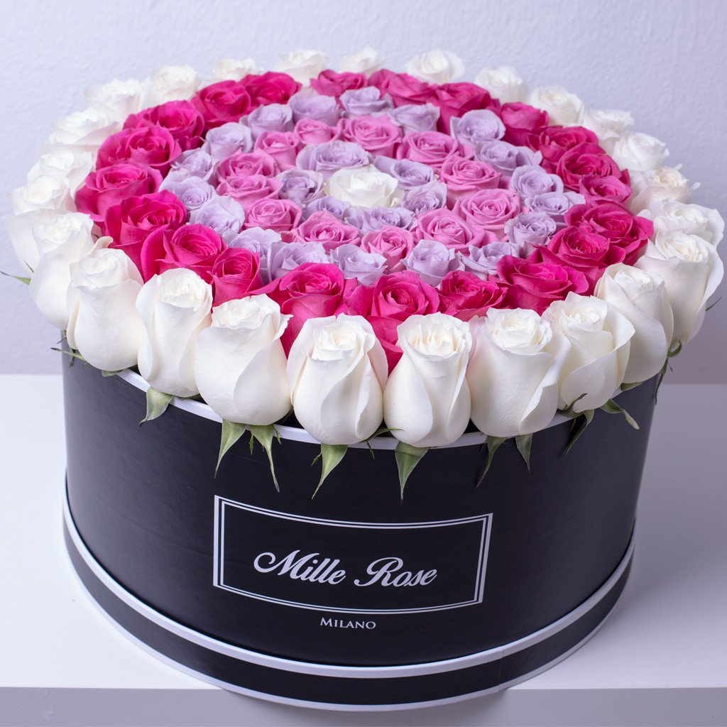 Mille Rose Collection - One Million Box - Rose Bianche Fucsia Lilla - Scatola Bianca