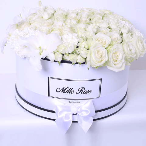 Mille Rose - One Million Box - Rose Mix White Lilium- Scatola Bianca