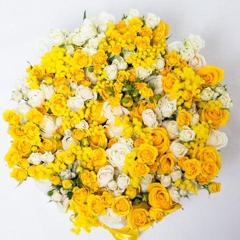 8 March Collection - One Million Box - Rose Bianco Giallo Mimose - Scatola Bianca