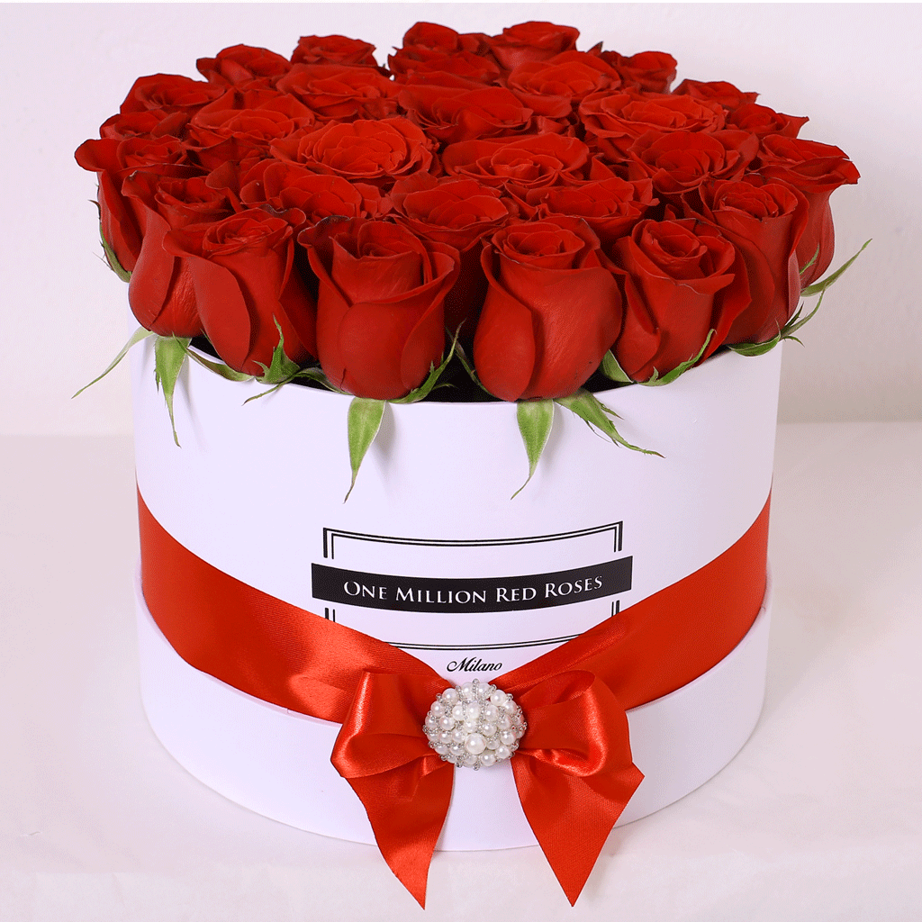 Classic Collection - Medium Box - Rose Rosse con Gioiello - Scatola Bianca