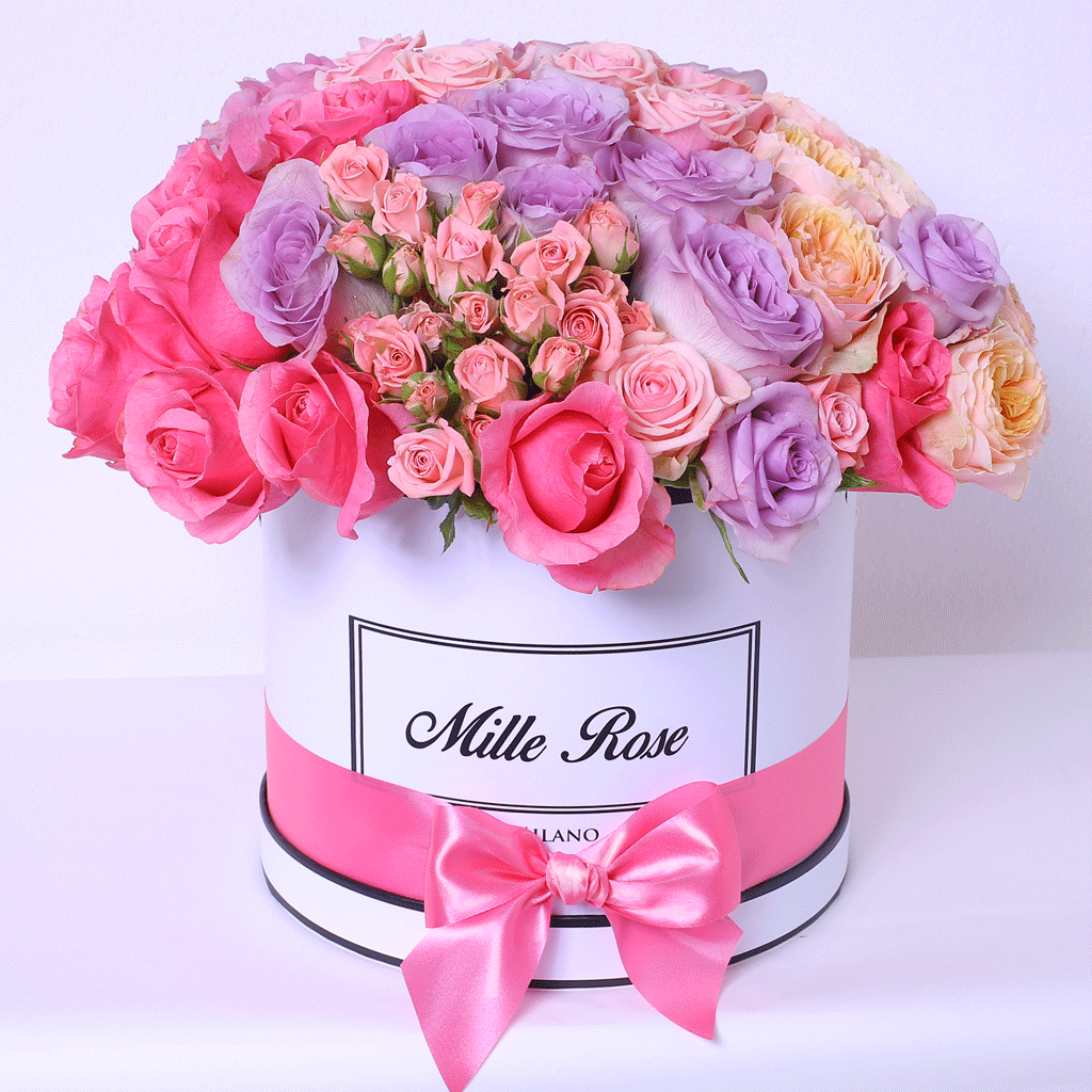 Mille Rose Collection - Medium Box - Rose Mix sfera - Scatola Bianca