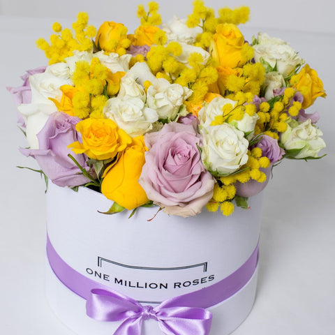 8 March Collection - Small Box - Rose Bianco Giallo Lilla Mimose - Scatola Bianca